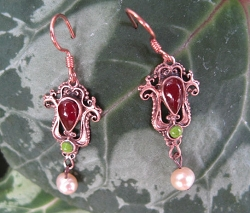 Copper Stone earrings with Carnelian Agate Stones CE9026 - 1 inch long.