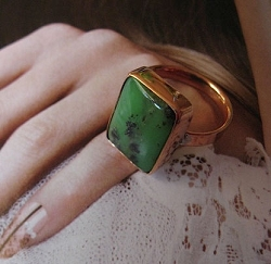 Copper Agate  Ring CR339AE - Size 9 - 1/2 an inch wide.
