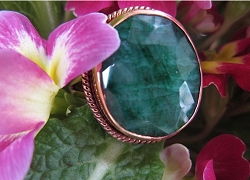 Copper Green Agate  Ring CR334AE - Size 9  - 5/8 of an inch wide