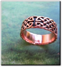 Solid copper Celtic Knot band Size 4 ring CTR042 -5/16 of an inch wide.