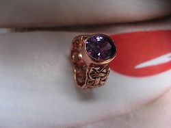 Solid Copper Celtic Genuine Amethyst Stone Band Size 9 Ring  #CTR1572- 1/4 of an inch wide.