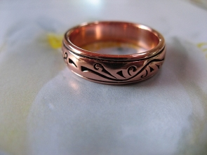 Copper Ring CTR1885 Size 8 - 3/16 of an inch wide.