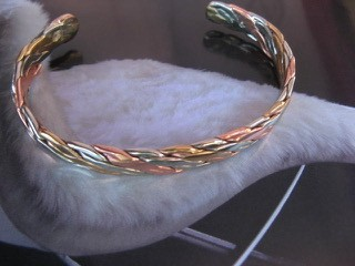 Men's 8 Inch Copper, Nickel And Brass Cuff Bracelet CB1211S -  3/16 of an inch wide.