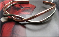 Women's 6 1/2 Inch Solid Copper and German Silver Cuff Bracelet CB431S - 3/16 of an inch wide.