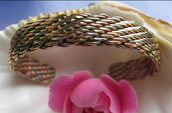 Women's 7 Inch Copper, Nickel And Brass Cuff Bracelet CB83M - 3/8 of an inch wide.