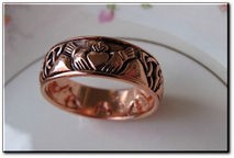 Solid Copper Celtic Claddagh Band Size 4 Ring #CTR3355 - 5/16 of an inch wide.