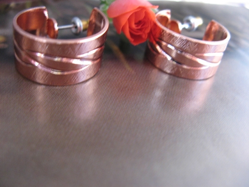 Solid Copper Hoop Earrings CE0204DO -  3/4 of an inch in diameter