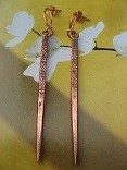 Solid Copper Earrings  CE36HH - 3  inches long.