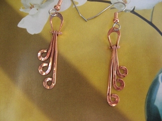 Solid Copper Earrings  CE228J - 2 inches long.