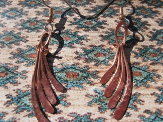 Solid Copper Earrings  CE229J - 2 inches long.