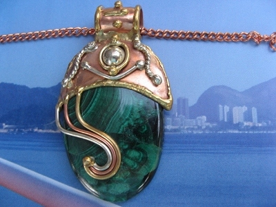 Solid Copper, nickel and brass Pendant with a Malachite stone and a 20 Inch Chain Set CP311A-JZ - Very large pendant.