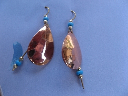 Solid Copper Earrings  CE3152D64T - 2  inches long.