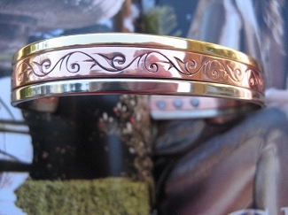Men's 8 Inch Solid Copper and Nickel Magnetic Cuff Bracelet CBM326 - 1/2 inch wide.