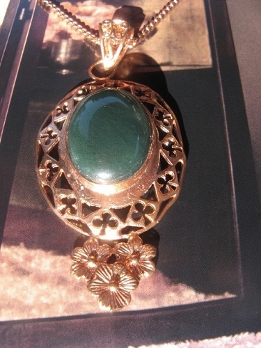 Solid Copper Green Agate Stone Pendant and 20 Inch Chain Set CP431