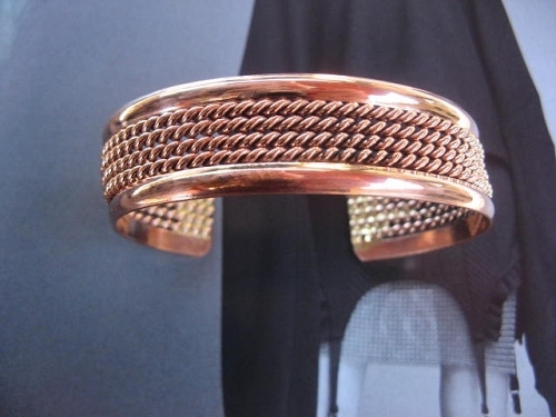 Women's 7 Inch Solid Copper Cuff Bracelet CB446 - 3/4 of an inch wide.