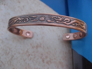 Men's 8 Inch Solid Copper Magnetic Cuff Bracelet CBM5103- 1/4 an inch wide.