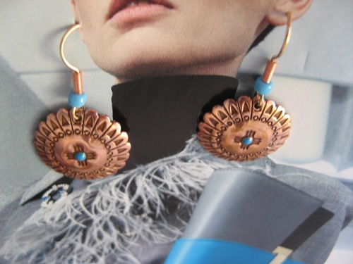 Solid Copper Earrings  CE6074C2T - 7/8 of an  inch round.