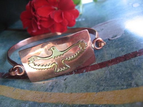 Women's 7 Inch Copper And Brass Cuff Bracelet CB616 -3/4 of an inch wide.