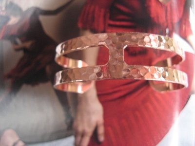 Women's 7 Inch Solid Copper Cuff Bracelet CB7162TH- 3/4 of an inch wide.