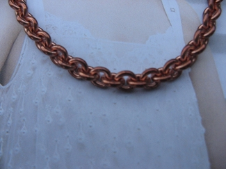 22 Inch Length Solid Copper Chain CN733G -  3/16 of an inch wide
