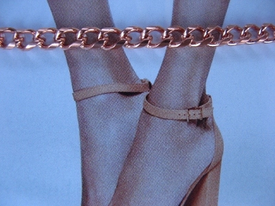Solid Copper Anklet CA796G - 5/32 of an inch wide - Available in 8 to 12 inch lengths.
