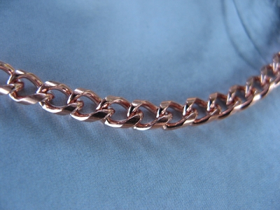 24 Inch Length Solid Copper Chain CN796G -  5/32 of an inch wide