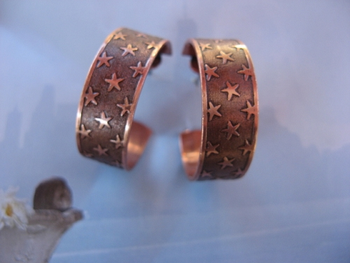 Solid Copper Hoop Earrings CE9547CO -  1 inch in diameter
