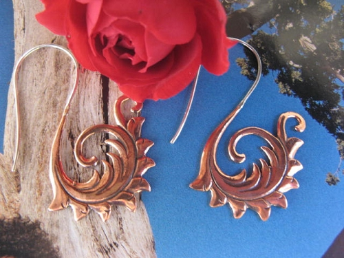 Solid Copper and Sterling Silver  Earrings  CE59 -  1 1/2 inches long.