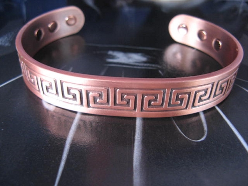Men's 9 Inch Solid Copper Magnetic Cuff Bracelet CBM944 - 1/2 of an inch wide.