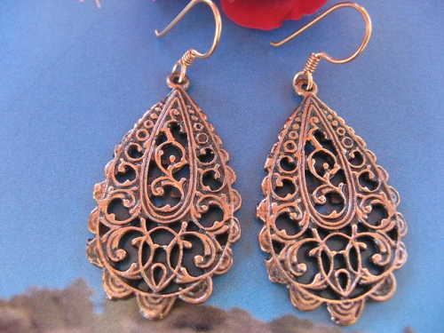 Solid Copper Earrings  CE1963 - 1 1/4 inches long.
