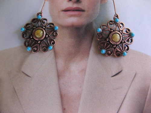 Solid Copper Earrings  CE2607 - 1 inch long.