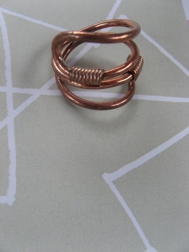 Solid copper Celtic Knot band Size 7 ring CR719 - 3/4 of an inch wide.