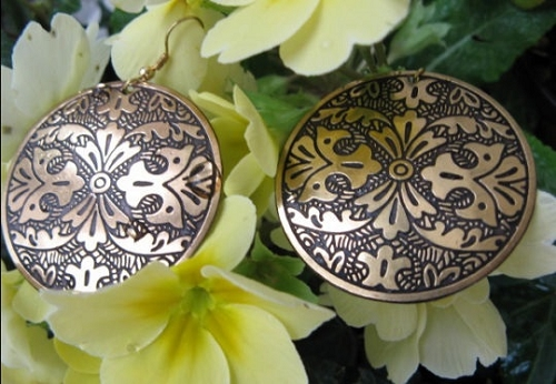 Brass Earrings  BE5 - 1 1/2  inches round.