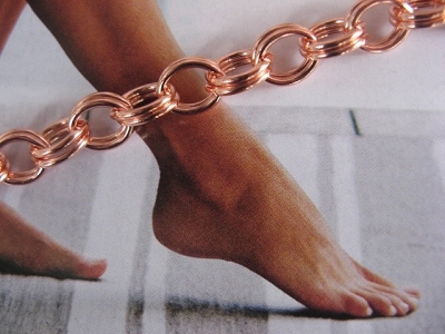 Solid Copper Anklet CA104G - 1/4 of an inch wide - Available in 8 to 12 inch lengths.