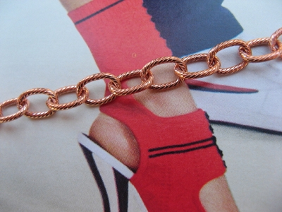 Solid Copper Anklet CA608G - 1/4 of an inch wide - Available in 8 to 12 inch lengths