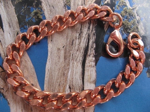 Men's 11 Inch Solid Copper Bracelet CB636G  - 7/16 of an inch wide  - Thick and durable.