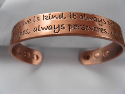 Ladies 8 Inch Solid Copper Magnetic Cuff Bracelet CBM224L- 1/2 an inch wide.