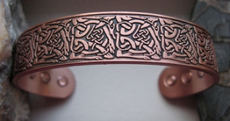 Men's 8 Inch Solid Copper Magnetic Cuff Bracelet CBM022- 5/8 of an inch wide.