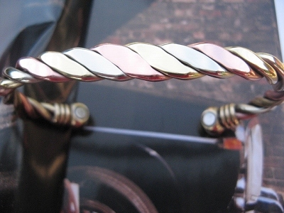 Ladies 6 1/2 Inch Solid Copper, nickel and brass Magnetic Cuff Bracelet CBM327 - 3/8 of an inch wide.