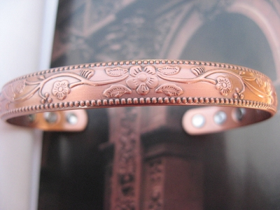 Ladies 8 Inch Solid Copper Magnetic Cuff Bracelet CBM328 - 3/8 of an inch wide.