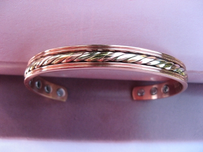 Men's 9 Inch Tri - Metal  Magnetic Cuff Bracelet CBM331 - 3/8 an inch wide.