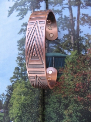 Men's 8 Inch Solid Copper Magnetic Cuff Bracelet CBM892- 5/8 of an inch wide.