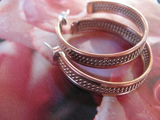 Solid Copper Hoop Earrings CE19-  1 1/4 inch in diameter