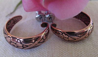 Solid Copper Hoop Earrings CE075  -  3/4 of an inch in diameter