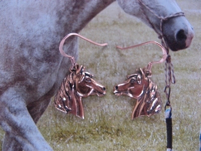 Solid Copper Horse  Earrings  CE1199 - 1  inch long.