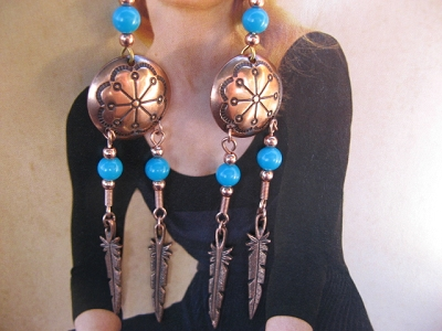 Solid Copper Earrings  CE22-WH - 3 1/2 inches long.