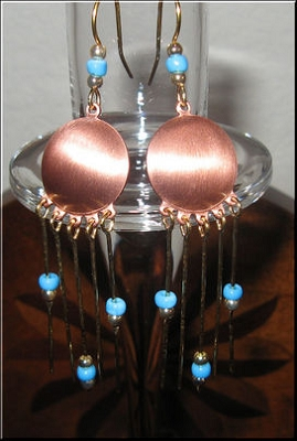 Solid Copper and Brass Earrings  CE3156D6T - 3  inches long.