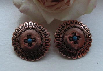Solid Copper Stud Earrings CE6074COT-  7/8 of an  inch in diameter