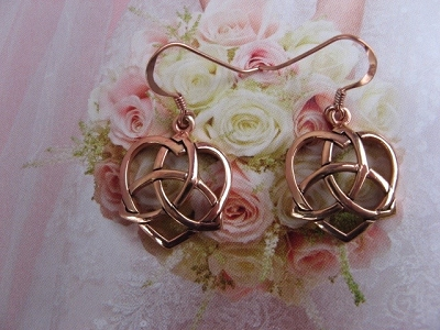 Solid Copper Celtic Knot Earrings #CER1141 - 7/8 of an inch long.