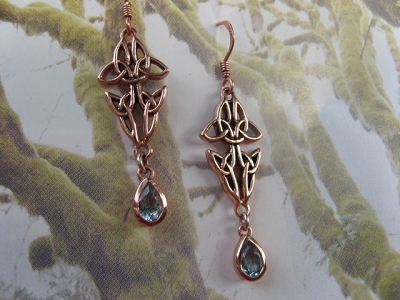 Solid Copper Celtic Knot Earrings #CER120BT- Blue Topaz